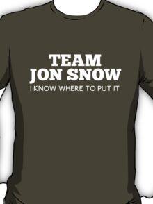 Team Jon Snow : I know where to put it  T-Shirt