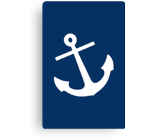 Navy Blue Anchor Canvas Print