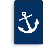 Navy Blue Anchor Canvas Print