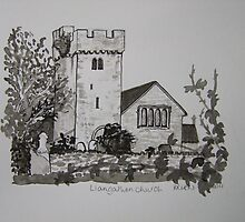 Pen and Ink-Llangathen Church-02 by Pat - Pat Bullen-Whatling Gallery