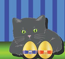 cat and two easter eggs by valeo5
