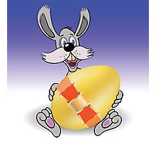 rabbit and easter egg Photographic Print