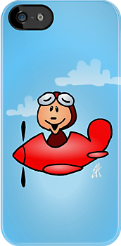 Red airplane with laughing pilot by cardvibes
