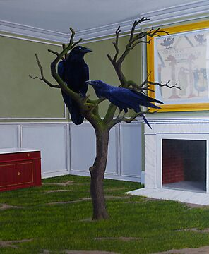 Huginn and Muninn (Thought and Memory), 2012, Oil on Linen, 91X76cm. by Jason Moad