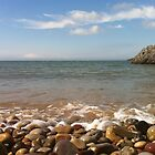 Pebble view of the beach, Mumbles Wales by Elinor Barnes
