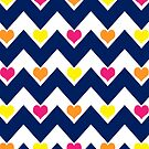 hearts&amp;chevron - navy&amp;multicolour (pink/orange/yellow) by designsbyjenn
