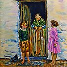Connemara Grandmother at a Cottage Door with Grandchildren - Painted from a 1930's Lantern Slide by Branson De Cou. Courtesy of Special Collections, University of California, Santa Cruz by Laura Butler