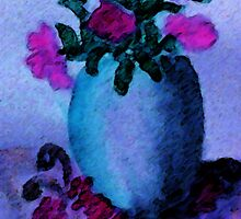 Blue vase and flowers, watercolor by Anna  Lewis