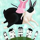 Siamese Cat and Hopping Rabbit by Ryan Conners