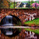 Bridge,Waterfall in Spring by KellyHeaton