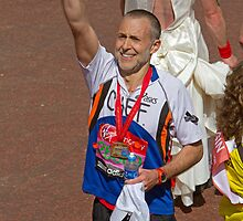Michel Roux Jr finishing the London Marathon 2013 by Keith Larby