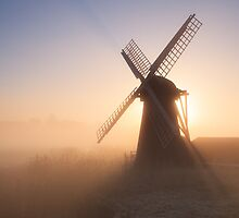 Through the mist - sunrise, Herringfleet Windpump, Suffolk by Justin Minns