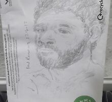 Self-portrait from photo/(1 of 2) -(220413)- Pencil/Back of A5 Envelope by paulramnora