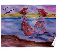 Little girls in long dresses at the beach, watercolor Poster