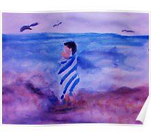 Little boy in striped towel on beach, watercolor Poster