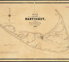 Vintage Map of Nantucket (1838) by alleycatshirts