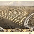 Vintage Pictorial Map of Topeka Kansas (1869) by alleycatshirts