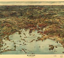 Vintage Pictorial Map of Boston (1905) by alleycatshirts