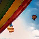 Hot Air Balloon in Flight, American Flag by KellyHeaton