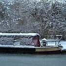 Frozen Narrowboat on Kennet and Avon Canal by mlphoto