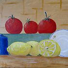 fruit of the kitchen WIP by Linda Ridpath