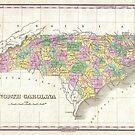 Vintage Map of North Carolina (1827) by alleycatshirts