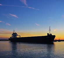 Cargo Ship Leaving The Swale by Malcolm Snook