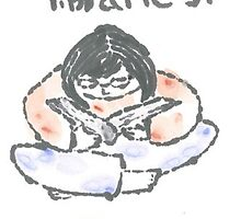 I Consume Libraries Watercolor Etegami postcard by Labontea
