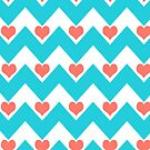 hearts&amp;chevron - turquoise&amp;coral by designsbyjenn