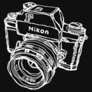 Nikon F Classic Film Camera Illustration WHITE for dark colors by strayfoto