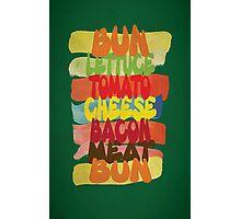 Funny Burger Typography Art Photographic Print