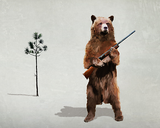 Bear with a shotgun by levman