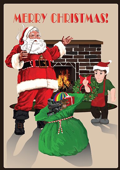 Santa with toybag, fireplace and elf by TrioDesigns