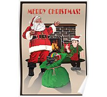 Santa with toybag, fireplace and elf Poster