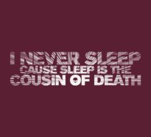 I Never Sleep (Nas) Quotable (for dark shirts) by Bob Buel