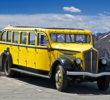 1937 White Touring Bus/Rocky Mountains by DaveKoontz