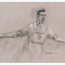 Gareth Bale - original pastel drawing by Paulette Farrell