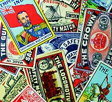 Vintage matchbox Covers Random Collage  by AndyLanhamArt