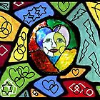 Stained Glass Happiness Mixed Media Print by Teca Burq