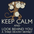 Keep Calm & Look Behind You A Three Headed Monkey by RetroReview