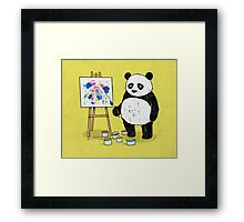 Pandas paint colorful pictures. Framed Print
