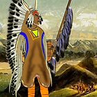 A Mandan Red Indian Chief by the Rocky Mountains by Dennis Melling