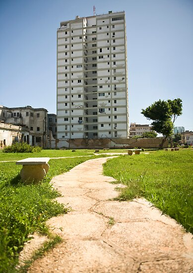 Cuba Havana, Path & Tower Block.  by sallyrose1
