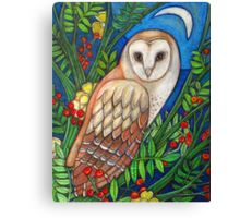 White Heart (Portrait of a Barn Owl) Canvas Print