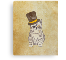 Funny Cute Kitten Cat Sketch Monocle and Top Hat Canvas Print