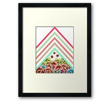 Modern Pink Teal Mint Green Chevron Floral Peonies Framed Print