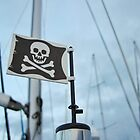 Windy day pirate flag by bricksailboat