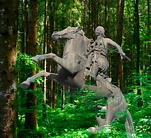 Bronze horseman and horse in a forest by PhotoStock-Isra