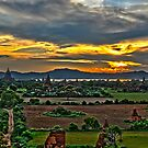 Myanmar, Bagan pagoda temples at sunset  by PhotoStock-Isra