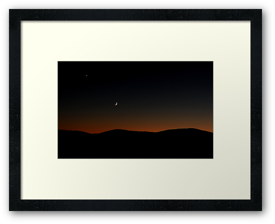 Venus Chasing the Moon Chasing the Sunset by WhiteLightPhoto